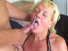 Old blonde mature sucking strong cock and gets cumshot