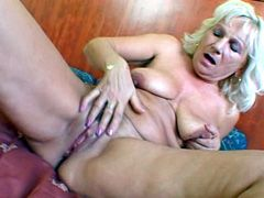 Blonde granny babe gets big black hose..