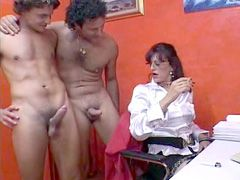 Mature slut in black stockings gets..