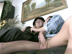 Aged mature gets young cock in hairy beaver and cream on face