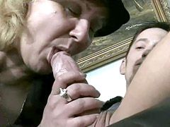 Aged mature gets young cock in hairy beaver and cream on..