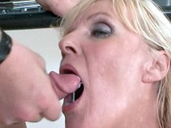 Blonde housewife babe gets hard fist fucked on table
