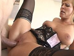 Busty blonde mom gets big cock in shaved pussy