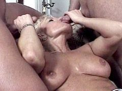 Two mature ladies suck cock and fucked in group orgy