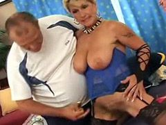 Busty blonde mature bitch having her hairy cunt drilled on bed