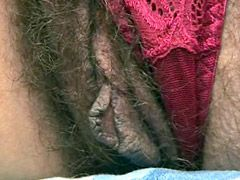 Mature with very hairy beaver gives blowjob and doggystyle..