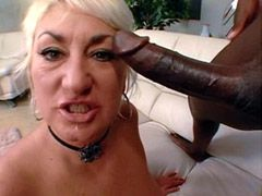 Big black monster cock banged sexy blonde mature granny on sofa