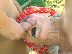 Blonde granny babe gets big cock in hairy cunt cock and cum