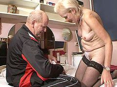 Aged granny in black stockings loves to feel cock in her..