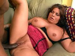 Busty brunette wife riding huge black cock and getting..