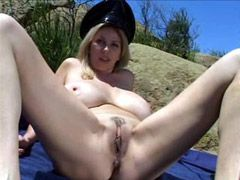 Big boobs blonde mom jumping on hard cock outdoor