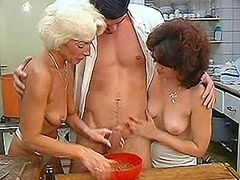Blonde and brunette matures groupsex orgy on the kitchen