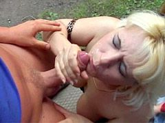 Blonde mature suck cock and doggystyle fucking outdoor