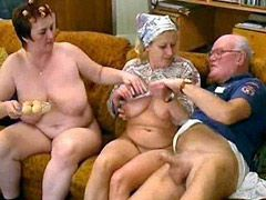 Two granny wifes fucks with old husband on bed