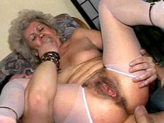 Blonde granny in white stockings gets dick in very hairy..