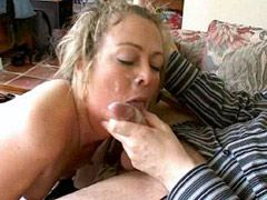 Blonde milf bitch in black stockings suck cock and facialed