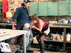 Aged wife in black stockings gives blowjob and gets bang..
