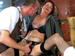 Redhead mature whore gets hard ass hole fucked