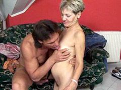 Hairy granny jumping on cock..