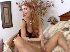 Beautyfull milf babe in black stockings gets big cock