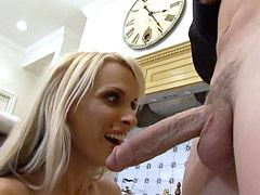 Perfect blonde milf gets gigantic cock and facial cumshot