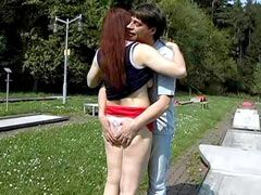 Mature chick gives blowjob and hard fucked on grassplot