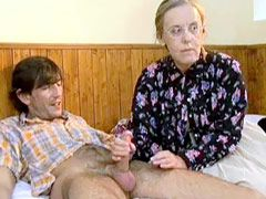 Granny chick in glasses loves to feel young cock in her hairy pussy