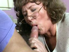 Old granny bitch in black stockings hardcore fucked at..