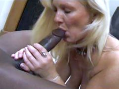 Huge long african cock drilled sexy blonde wife in wet pussy