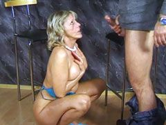 Hot blonde wife gets hardcore bang and..