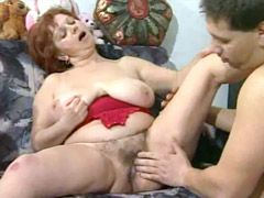 Young cock destroyed hairy pussy hungry redhead granny slut