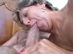 Horny granny whore hard ass hole fucked and get cum on shaved pink pussy