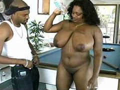 Chubby ebony mature with monster tits..