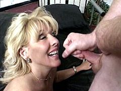 Busty mature housewife undressing for wild sex and face fuck