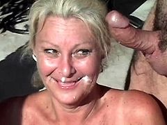 Mature woman shows old shaved twat and gets hardcore
