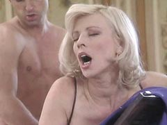 Beautiful blonde mature whore fucked..