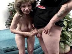 Old mature sucks young cock..