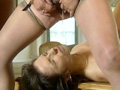 Mature girlfriends hardcore fucking on table and gets pissing
