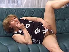 Mature babe masturbating and hard hardcore fucked on sofa