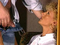 Blonde mature sexy lady gets in hairy red bush big hard cock