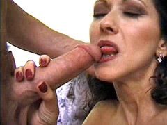 Mature mom in white stocking fucking hard at home