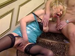 Two older ladies sucking and anal fucked by disobedient cock