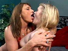 Mature lesbian kissing tits and licking young pussy