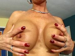 Big tits mature babe riding cock and getting creampie on..