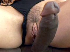 Gigantic black rod drilling brunette..