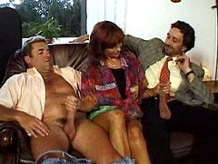 Hot mature whore gets hard double penetration from two big..