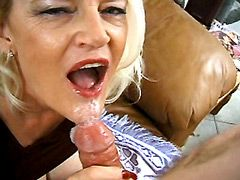 Blonde old mom gets facial cumshot after mmf groupsex