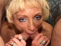 Blonde mature babe fucking non stop on bed in hard group sex