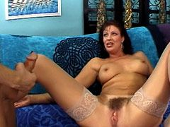 Mature women loves to feel hard big cock in her hairy pussy