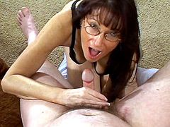 Amateur mature shows hairy hole and sucks dick